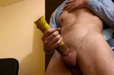 Pornhub - fap2it - Hot Guy Moaning while Masturbating with Banana Peel - Cum no Hands 4K